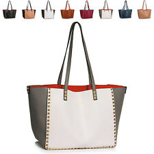 Ladies Large Faux Leather Women Twin Handle Studded Shoulder Bag Handbag Tote UK