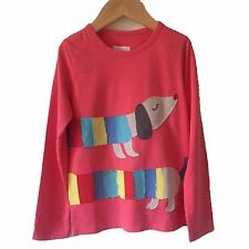 NEW ex Mini Boden Girls Applique Pink Sausage Dog Top T-shirt Age 7-8 9-10 Years