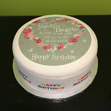Happy Birthday Daughter Edible Icing Topper or Ribbon for Cake & Cupcakes 4