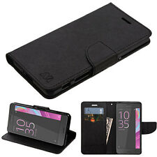 Sony Ericsson Xperia XA1 / XZ Leather Flip Wallet Case Cover Stand Pouch Black