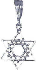 Sterling Silver Double Star of David Charm Pendant Necklace Diamond Cut Finish