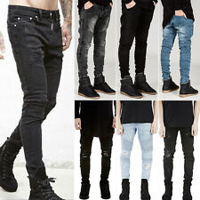 Fashion Mens Straight Leg Destroyed Ripped Knee Denim Jeans Pants Trousers 29-44
