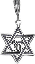 Sterling Silver Jewish Charm Star of David with Chai Pendant Necklace Oxidized