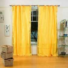 Yellow  Tie Top  Sheer Sari Curtain / Drape / Panel  - Pair