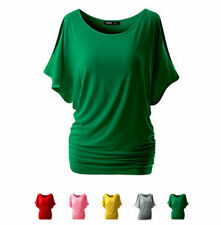 Round Neck  Bat Sleeve Loose Hot Short Sleeve Top T-shirt Sexy Women Blouse