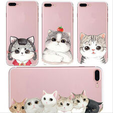 1X New Phone Cell Transparent For iPhone Case Cover Cat Soft Silicon Cute Shell