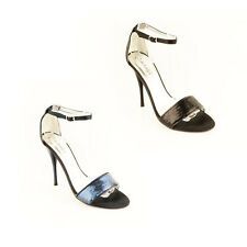 WOMENS LADIES SEQUIN ANKLE STRAP HIGH STILETTO HEEL SANDALS SHOES SIZE 3-7