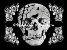 Gothic Black Crow Skull Silhouette White Rose Art Home Decor Matted Picture A353
