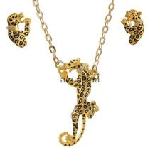 Leopard Animal Design Pendant Silver Gold Plated Necklace Earrings Jewelry Set