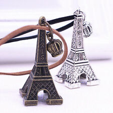 NEW Paris Eiffel Tower Pendant Charm Brown Black Leather Necklace Chain Jewelry