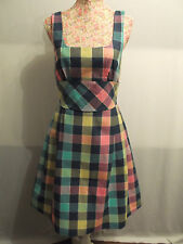 NEW WITH TAGS KNEE-LENGTH MULTI-COLOURED SQUARES CHECK DRESS BY DAUOD
