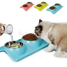Three Colors Stainless Steal Pet Food Water Dish Portable Puppy Cat Feeding Bowl