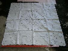 """Vintage 1940's Cut Lace Petite White Tablecloth French 42""""sq + 6 Pink Napkins"""