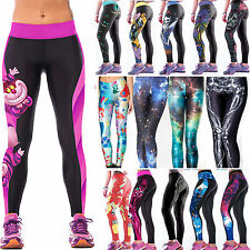 Womens Yoga Athleisure Pants 3D Leggings Fitness Jogger Stretchy Skinny Trousers