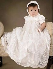 Baby Girls Christening Dress Todder Baptism Gown Lace White/Ivory WITH BONNET