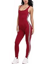 Women Red Sexy Backless Sleeveless One Piece Body Bandage Long Pants Jumpsuit