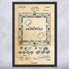 Monopoly Board Game Framed Patent Art Print Gift
