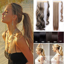 100% Real New Clip In Hair Extension Pony Tail Wrap Around Ponytail Straight USA