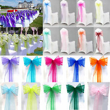 10/25/50/100PCS Organza Chair Cover Sash Bow Wedding Party Meeting Banquet Decor