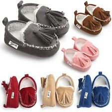 Hot Moccasins Pu Leather  Princess Newborn  Boots Baby Shoes Suede  New Winter