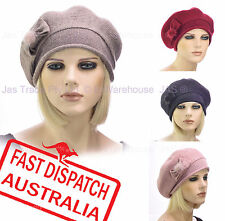 Ladies Woman 20s Fashion Wool Slouchy Chemo Headcover Beanie French Beret Hat