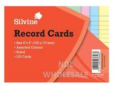 "Silvine Record Cards 6"" X 4"" (152 x 101 mm) Pack of 100 Assorted Colours"