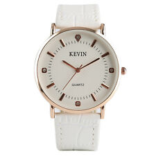 KEVIN Round Case Stainless Steel/Leather Band Women Business Quartz Wrist Watch