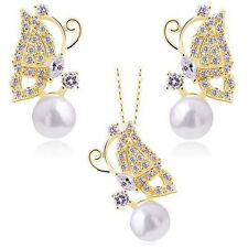 Yellow GP Austrian Crystal Pearl Butterfly Pendant Necklace Earrings jewelry set