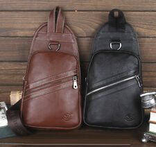 New Men Genuine Leather Cross Body Messenger Shoulder Retro Sling Pack Chest Bag