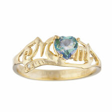 14Kt Yellow Gold Plated Natural Blue Mystic Topaz & Diamond Heart Mom Ring