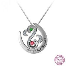 925 Sterling Silver Open Heart Pendants Personalized Birthstones Name Engraved H