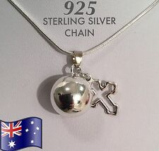 Cross Angel Caller Harmony Chime Ball 925 Sterling Silver Chain Pendant Necklace