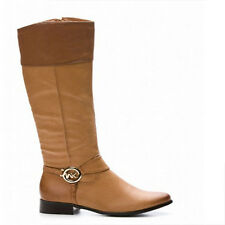 WOMENS LADIES WINTER LOW FLAT HEEL KNEE HIGH CALF RIDING BOOTS SHOES SIZE 3-8