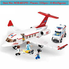 DIY Building Blocks-Ambulance Avion-Rescue Plane-335p-4Mini-Kid Toys-Lego compat