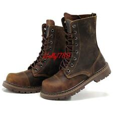 Womens Leather high top lace up Military biker Boots Lace Up Motorcycle Plus sz