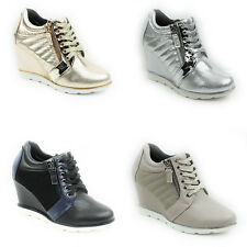 WOMENS LADIES WEDGE HEEL LACE UP TRAINERS SNEAKERS HI TOP PUMPS SHOES SIZE 3-8