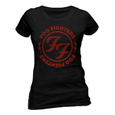 Foo Fighters T Shirt Red Circle Official Black Womens Ladies Skinny Rock Merch