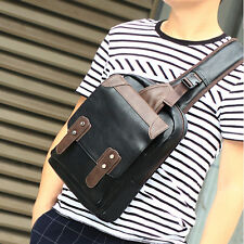 New Men PU Leather Travel School Shoulder Messenger Sling Day pack Chest Bag