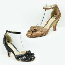 WOMENS LADIES CHUNKY KITTEN HEEL ANKLE STRAP COURT SHOES SANDALS SIZE 3-8