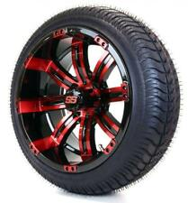 """14"""" Black/Red """"Tempest"""" SS Wheel/Rim and 205/30-14 DOT Golf Cart Tire Combo"""