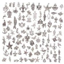 100Pcs/Set Pretty Tibetan Silver Mixed Sea Animals Charm Pendants DIY Jewelry PR
