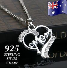 MUM Crystal Love Heart Pendant 925 Sterling Silver Chain Necklace Mother Gift