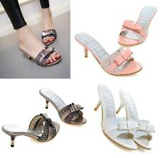 Womens Ladies Sequins Bowknot Slippers Sandals Kitten Heels Mules Mules Shoes