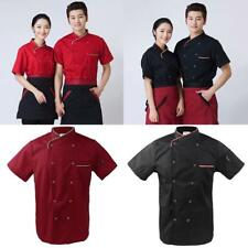 New Men Women Double Breasted Short Sleeve Chef Jacket Coat Cook Hotel Uniforms