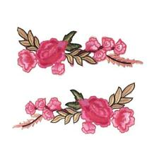 2 Pieces Flower Applique Clothing Embroidery Patch Sticker Iron On Sew Cloth DIY
