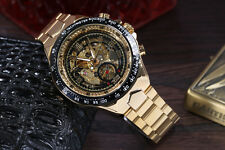 Watch Men Winner Automatic Mechanical Mens Skeleton Gold Wrist Steel Stainless S