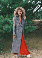 H&M Trend Long Wool Blend Check Houndstooth Maxi Coat Grey UK 10 12 36 38 BNWT