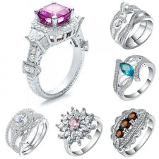 925 Silver Women Jewelry Topaz Pink Sapphire Wedding Engagement Ring Size 6-10