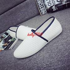 Weave style Men's line decor slip on casual stylish loafer shoes#black/white