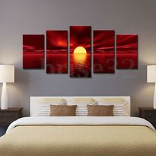 5 Panel Sunrise Landscape Canvas Print Painting Home Wall Art Decor No Frame